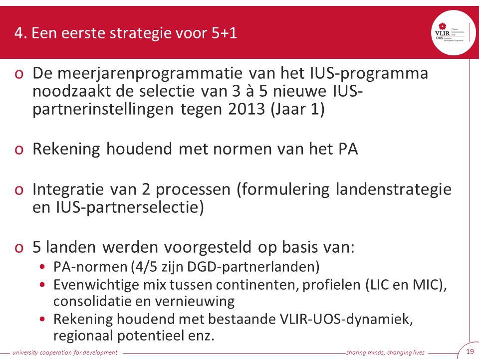university cooperation for development sharing minds, changing lives 19 4. Een eerste strategie voor 5+1 oDe meerjarenprogrammatie van het IUS-program