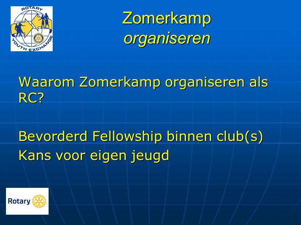 Zomerkamp organiseren Waarom Zomerkamp organiseren als RC? Bevorderd Fellowship binnen club(s) Kans voor eigen jeugd