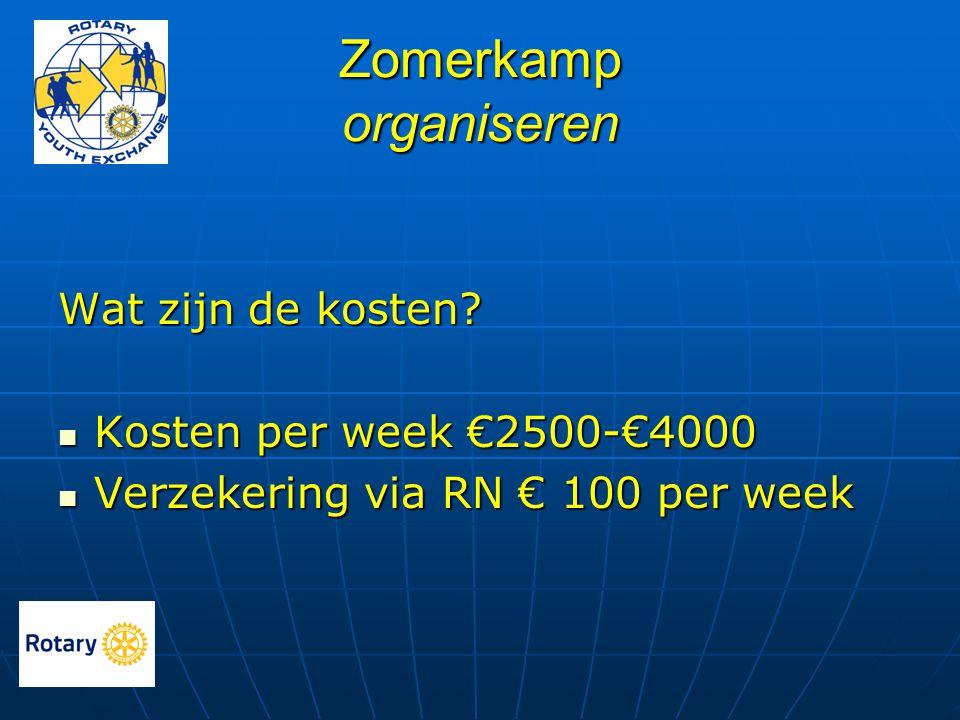 Zomerkamp organiseren Wat zijn de kosten?  Kosten per week €2500-€4000  Verzekering via RN € 100 per week