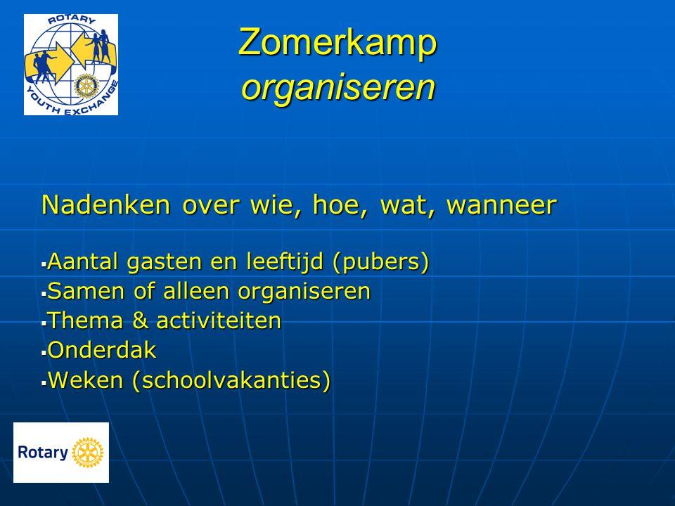 Zomerkamp organiseren Nadenken over wie, hoe, wat, wanneer  Aantal gasten en leeftijd (pubers)  Samen of alleen organiseren  Thema & activiteiten 