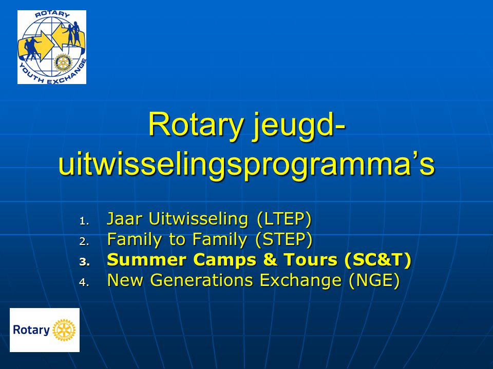 Rotary jeugd- uitwisselingsprogramma's 1. Jaar Uitwisseling (LTEP) 2. Family to Family (STEP) 3. Summer Camps & Tours (SC&T) 4. New Generations Exchan