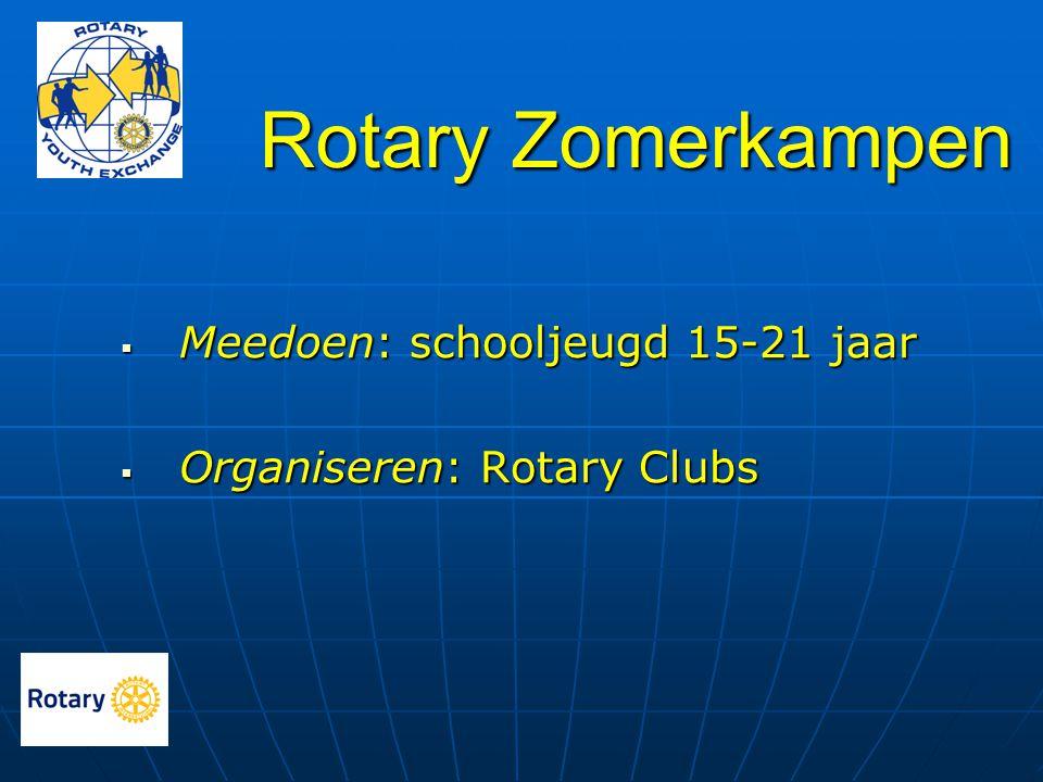 Rotary Zomerkampen  Meedoen: schooljeugd 15-21 jaar  Organiseren: Rotary Clubs