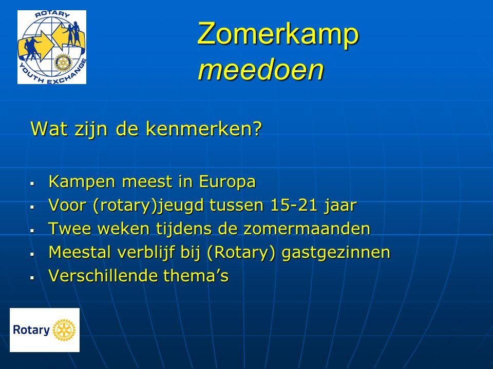 Zomerkamp meedoen Wat zijn de kenmerken?  Kampen meest in Europa  Voor (rotary)jeugd tussen 15-21 jaar  Twee weken tijdens de zomermaanden  Meesta
