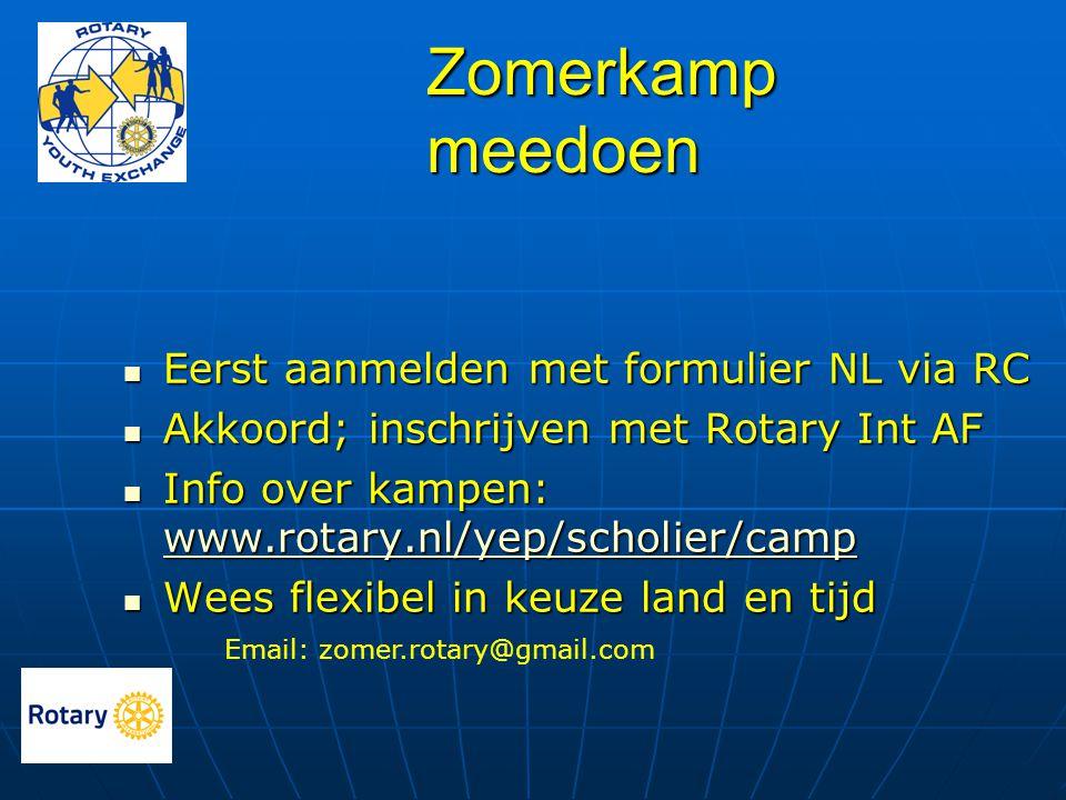  Eerst aanmelden met formulier NL via RC  Akkoord; inschrijven met Rotary Int AF  Info over kampen: www.rotary.nl/yep/scholier/camp www.rotary.nl/y