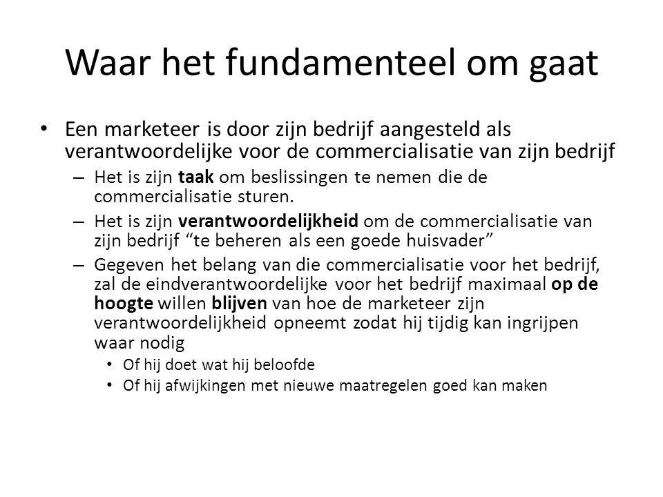 Waar het fundamenteel om gaat • Een marketeer is door zijn bedrijf aangesteld als verantwoordelijke voor de commercialisatie van zijn bedrijf – Het is