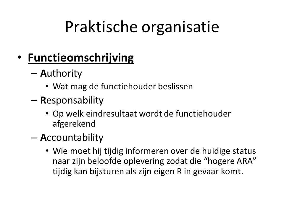 Praktische organisatie • Functieomschrijving – Authority • Wat mag de functiehouder beslissen – Responsability • Op welk eindresultaat wordt de functi