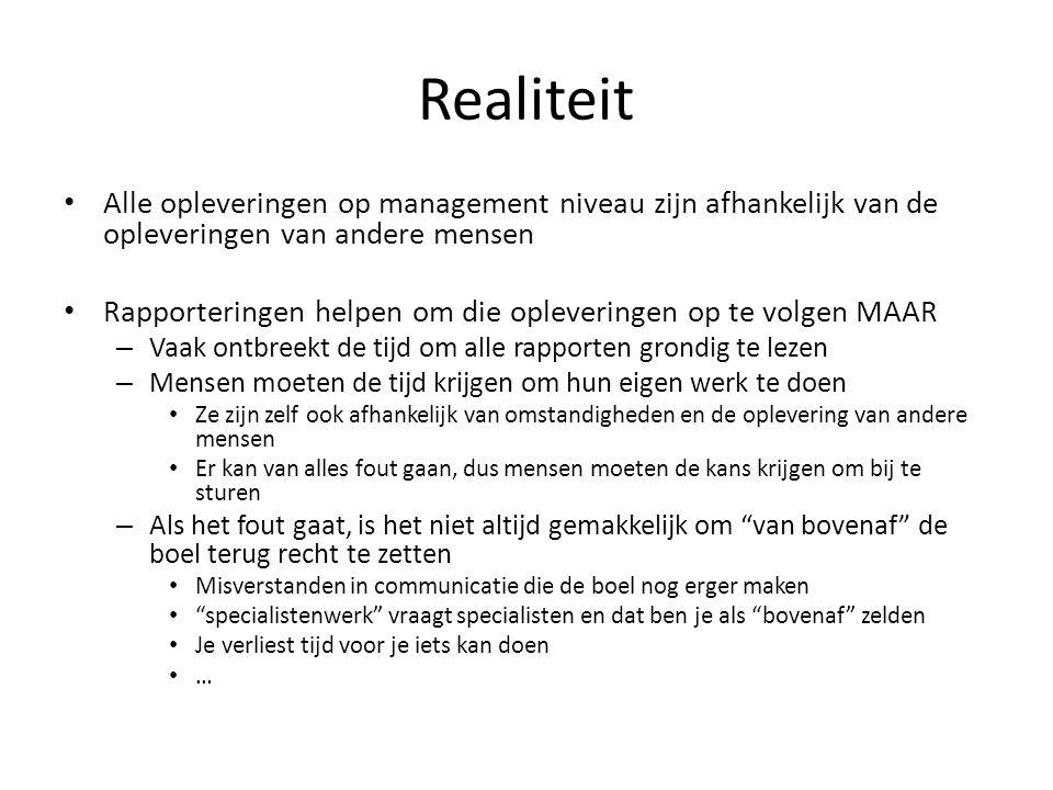 Realiteit • Alle opleveringen op management niveau zijn afhankelijk van de opleveringen van andere mensen • Rapporteringen helpen om die opleveringen