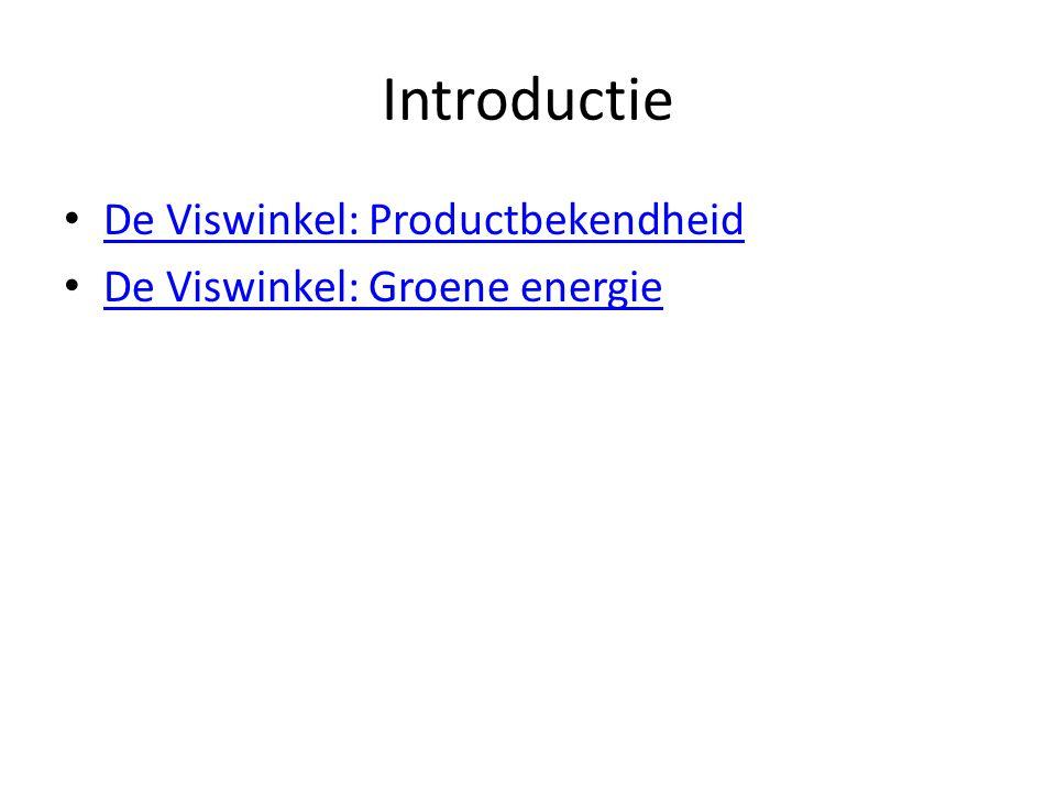 Introductie • De Viswinkel: Productbekendheid De Viswinkel: Productbekendheid • De Viswinkel: Groene energie De Viswinkel: Groene energie