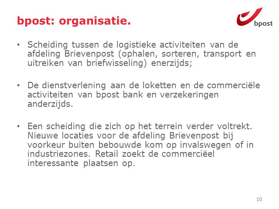 bpost: organisatie. • Scheiding tussen de logistieke activiteiten van de afdeling Brievenpost (ophalen, sorteren, transport en uitreiken van briefwiss