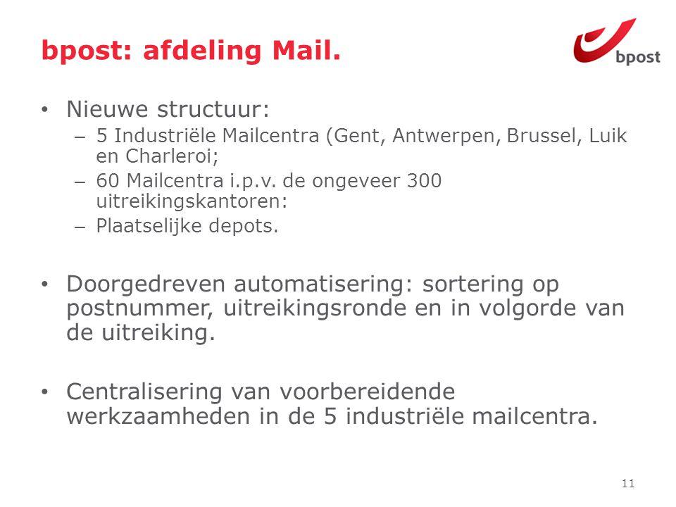 bpost: afdeling Mail. • Nieuwe structuur: – 5 Industriële Mailcentra (Gent, Antwerpen, Brussel, Luik en Charleroi; – 60 Mailcentra i.p.v. de ongeveer