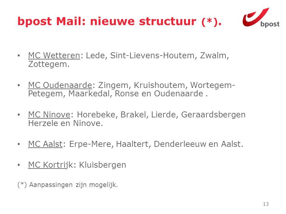 bpost Mail: nieuwe structuur (*). • MC Wetteren: Lede, Sint-Lievens-Houtem, Zwalm, Zottegem. • MC Oudenaarde: Zingem, Kruishoutem, Wortegem- Petegem,