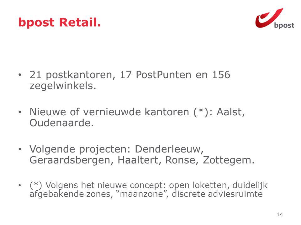 bpost Retail. • 21 postkantoren, 17 PostPunten en 156 zegelwinkels. • Nieuwe of vernieuwde kantoren (*): Aalst, Oudenaarde. • Volgende projecten: Dend