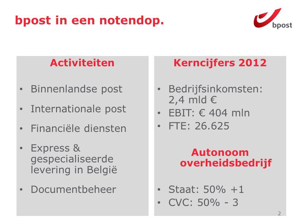 bpost in een notendop. Activiteiten • Binnenlandse post • Internationale post • Financiële diensten • Express & gespecialiseerde levering in België •