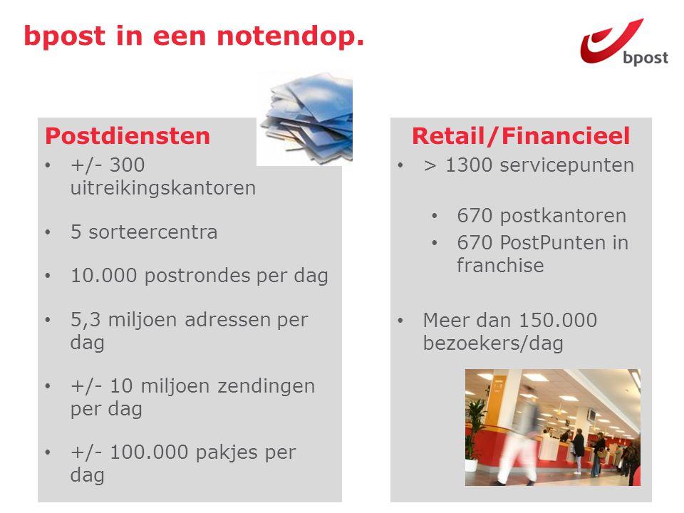 bpost Retail.• 21 postkantoren, 17 PostPunten en 156 zegelwinkels.