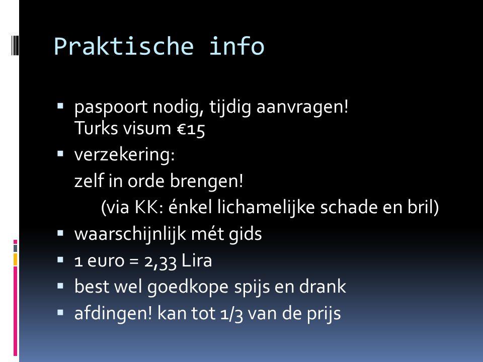 Praktische info  paspoort nodig, tijdig aanvragen! Turks visum €15  verzekering: zelf in orde brengen! (via KK: énkel lichamelijke schade en bril) 