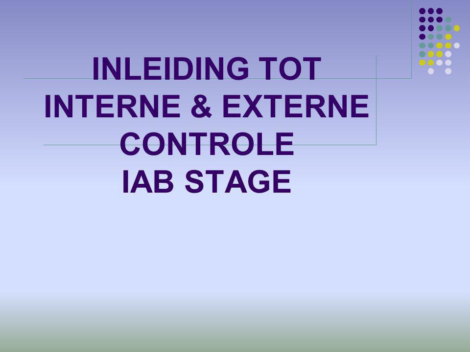 COSO – COSO ERM  Relatie van afdeling/eenheid met  Controlecomponenten (5)+(3)  Monitoring  Informatie en communicatie  Controle activiteiten  Risicobeheersing/inschatting  Controleomgeving  ERM  Event identification (indentificeren gebeurtenissen)  Objective setting (vastleggen objectieven)  Internal environment (interne omgeving) 32Inleiding interne en externe controle IAB stage 2012