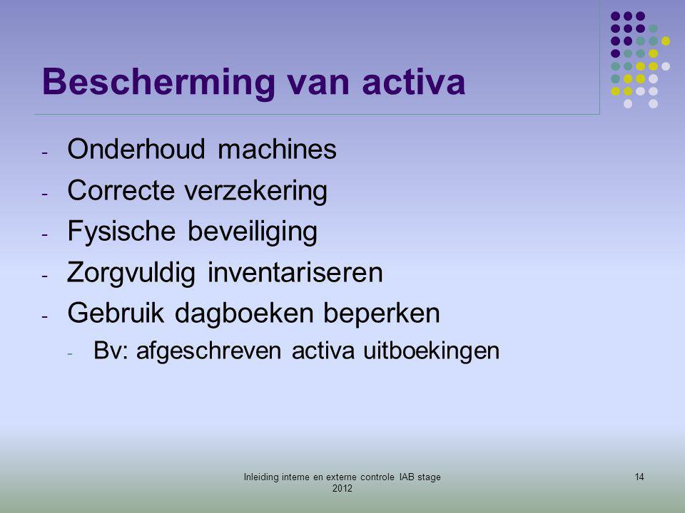 Bescherming van activa - Onderhoud machines - Correcte verzekering - Fysische beveiliging - Zorgvuldig inventariseren - Gebruik dagboeken beperken - B