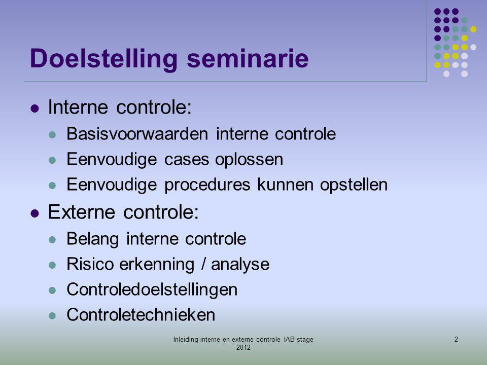 Doelstelling seminarie  Interne controle:  Basisvoorwaarden interne controle  Eenvoudige cases oplossen  Eenvoudige procedures kunnen opstellen 
