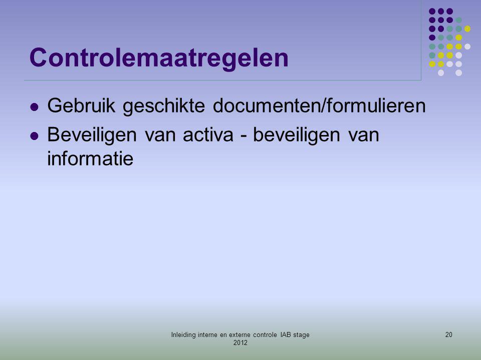 Controlemaatregelen  Gebruik geschikte documenten/formulieren  Beveiligen van activa - beveiligen van informatie 20Inleiding interne en externe cont