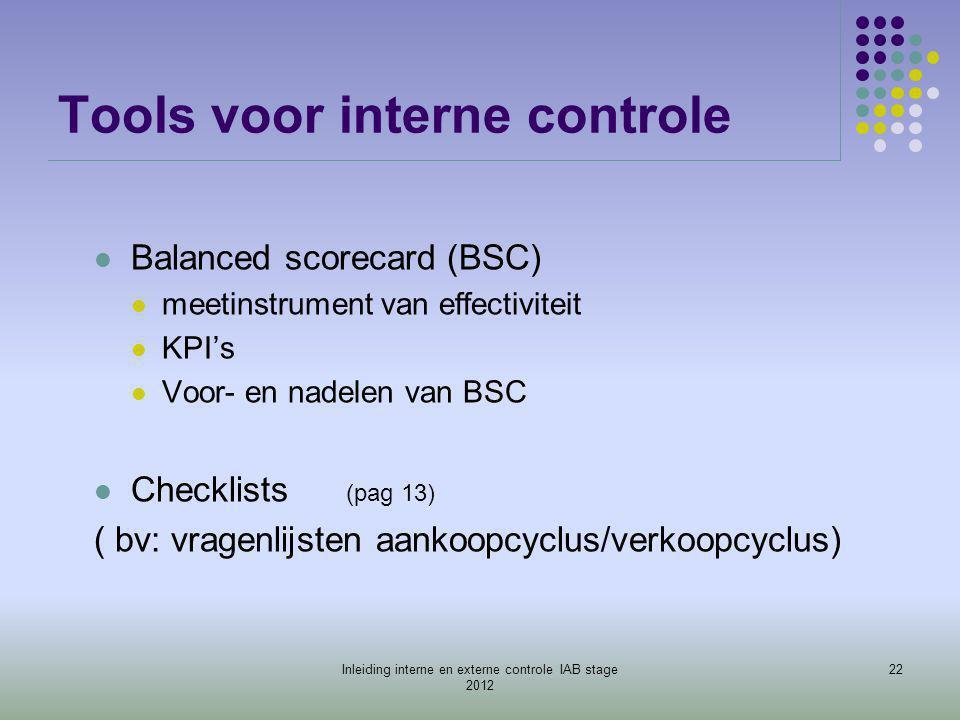 Tools voor interne controle  Balanced scorecard (BSC)  meetinstrument van effectiviteit  KPI's  Voor- en nadelen van BSC  Checklists (pag 13) ( b