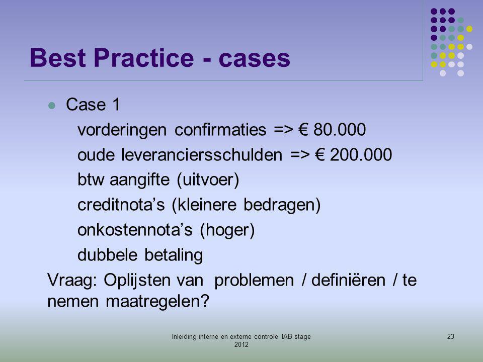Best Practice - cases  Case 1 vorderingen confirmaties => € 80.000 oude leveranciersschulden => € 200.000 btw aangifte (uitvoer) creditnota's (kleine