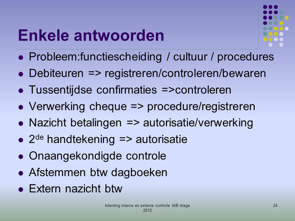 Enkele antwoorden  Probleem:functiescheiding / cultuur / procedures  Debiteuren => registreren/controleren/bewaren  Tussentijdse confirmaties =>con