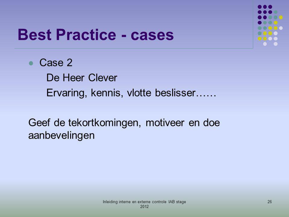 Best Practice - cases  Case 2 De Heer Clever Ervaring, kennis, vlotte beslisser…… Geef de tekortkomingen, motiveer en doe aanbevelingen 26Inleiding i