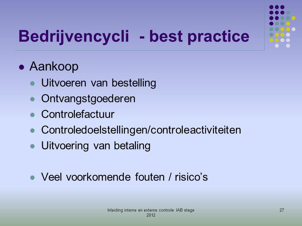 Bedrijvencycli- best practice  Aankoop  Uitvoeren van bestelling  Ontvangstgoederen  Controlefactuur  Controledoelstellingen/controleactiviteiten