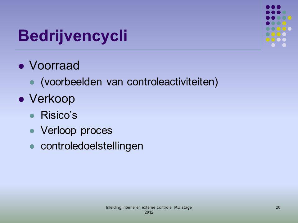 Bedrijvencycli  Voorraad  (voorbeelden van controleactiviteiten)  Verkoop  Risico's  Verloop proces  controledoelstellingen 28Inleiding interne