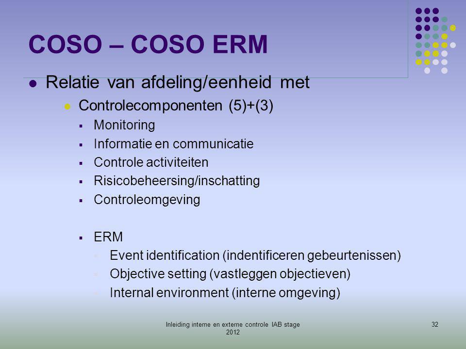 COSO – COSO ERM  Relatie van afdeling/eenheid met  Controlecomponenten (5)+(3)  Monitoring  Informatie en communicatie  Controle activiteiten  R