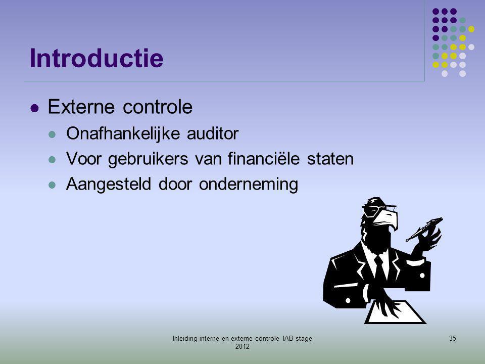 Introductie  Externe controle  Onafhankelijke auditor  Voor gebruikers van financiële staten  Aangesteld door onderneming 35Inleiding interne en e