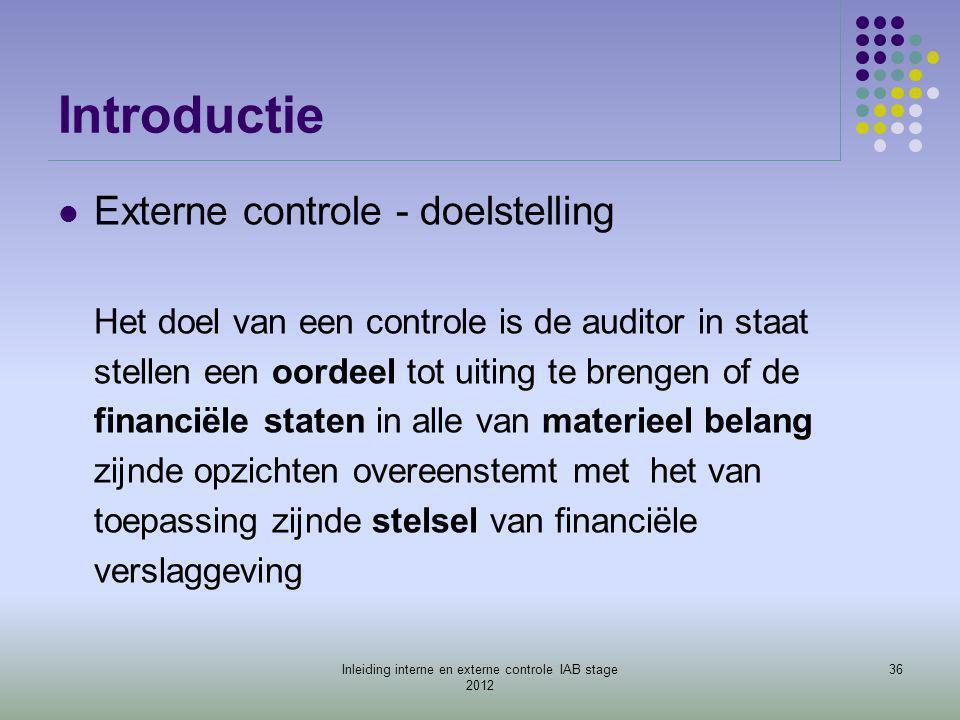 Introductie  Externe controle - doelstelling Het doel van een controle is de auditor in staat stellen een oordeel tot uiting te brengen of de financi