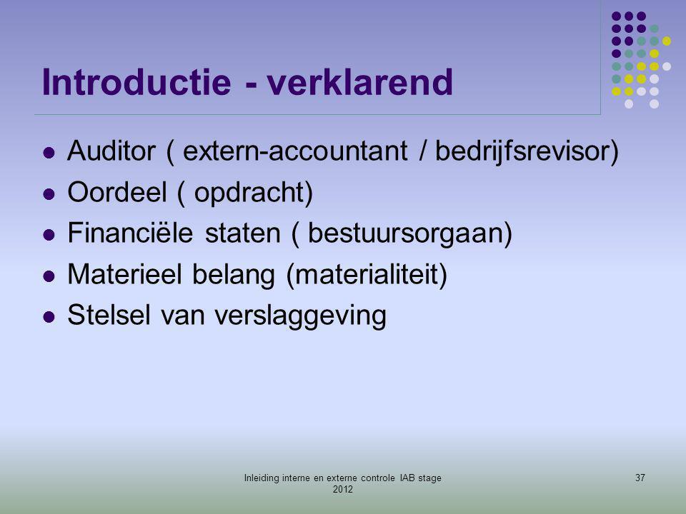 Introductie - verklarend  Auditor ( extern-accountant / bedrijfsrevisor)  Oordeel ( opdracht)  Financiële staten ( bestuursorgaan)  Materieel bela