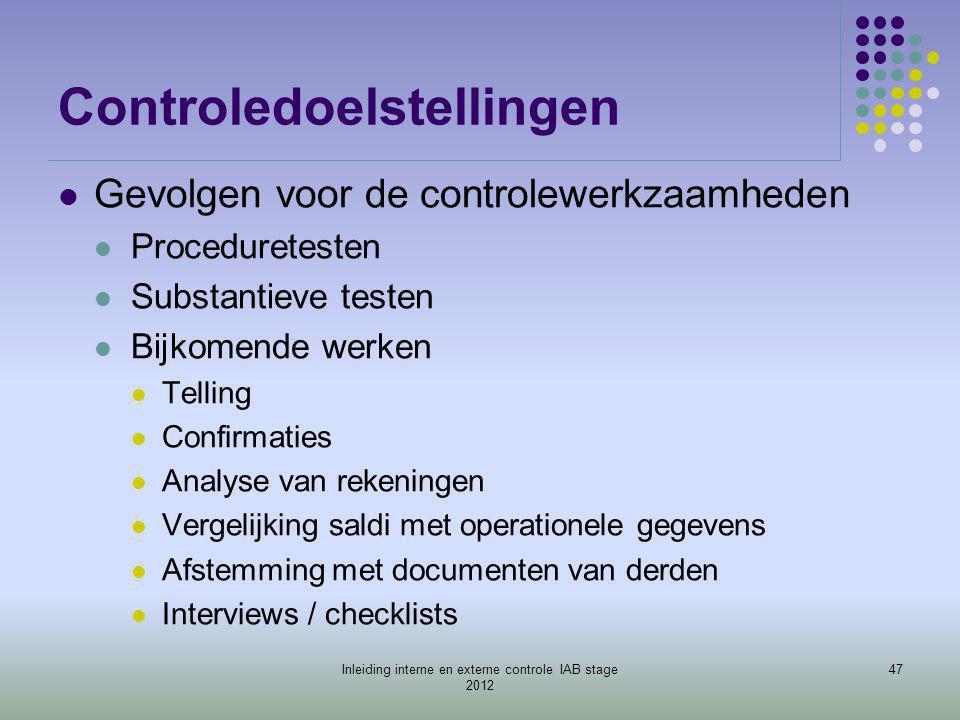 Controledoelstellingen  Gevolgen voor de controlewerkzaamheden  Proceduretesten  Substantieve testen  Bijkomende werken  Telling  Confirmaties 