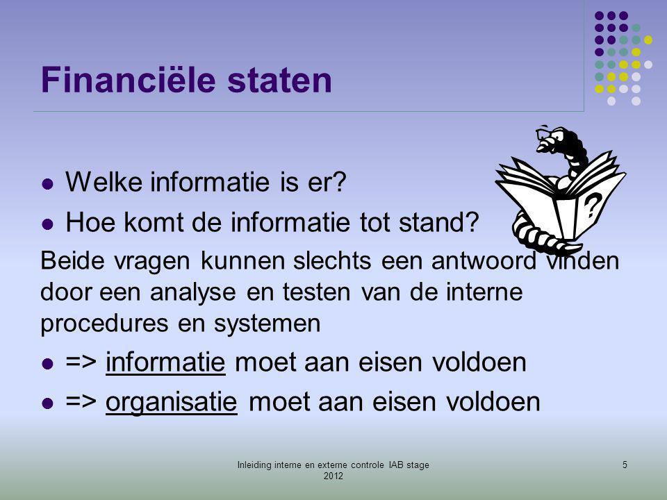 Organisatie  Activiteit wordt Organisatie  Informatiesysteem  Evolutie…….groei  => plannen (bedrijfsprocessen)  /samenwerkingsvormen  /uitvoering/delegatie  => controle (interne controle) 6Inleiding interne en externe controle IAB stage 2012