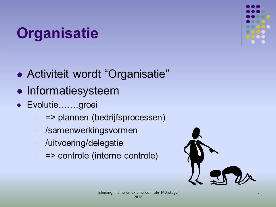 """Organisatie  Activiteit wordt """"Organisatie""""  Informatiesysteem  Evolutie…….groei  => plannen (bedrijfsprocessen)  /samenwerkingsvormen  /uitvoer"""