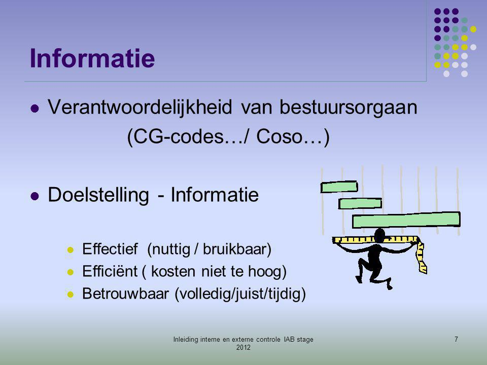 Beperkingen aan IC - Beperkingen: - Technisch (ict) - Menselijk (beoordeling, onzorgvuldigheid) - Economisch (kosten-baten) - Samenwerking functies - Eénmalige transacties 18Inleiding interne en externe controle IAB stage 2012
