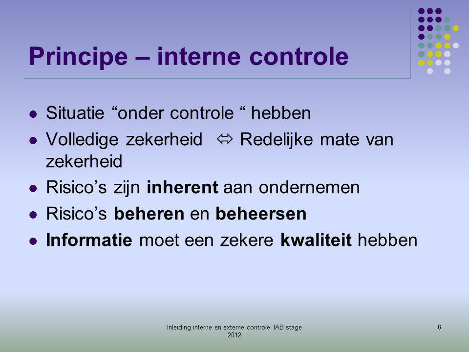 """Principe – interne controle  Situatie """"onder controle """" hebben  Volledige zekerheid  Redelijke mate van zekerheid  Risico's zijn inherent aan onde"""