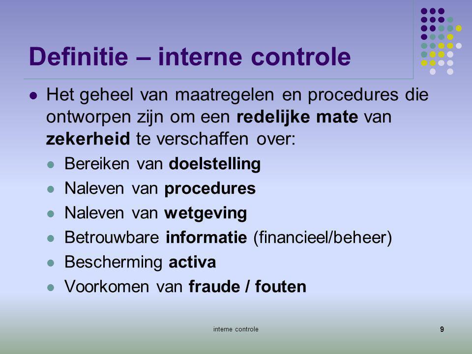 Definitie – interne controle  Het geheel van maatregelen en procedures die ontworpen zijn om een redelijke mate van zekerheid te verschaffen over: 