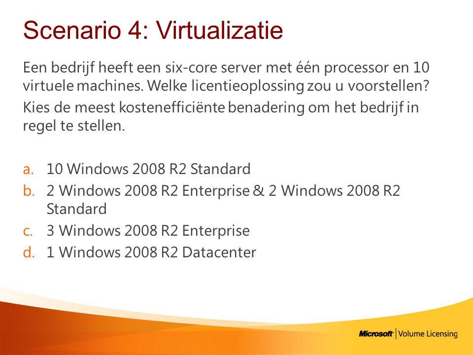 Scenario 4: Virtualizatie Een bedrijf heeft een six-core server met één processor en 10 virtuele machines.