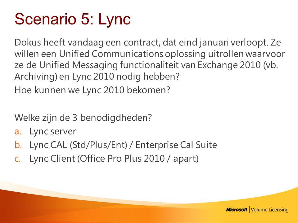 Scenario 5: Lync Dokus heeft vandaag een contract, dat eind januari verloopt.