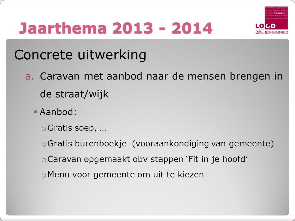 Jaarthema 2013 - 2014 Concrete uitwerking a.Caravan met aanbod naar de mensen brengen in de straat/wijk  Aanbod: o Gratis soep, … o Gratis burenboekj