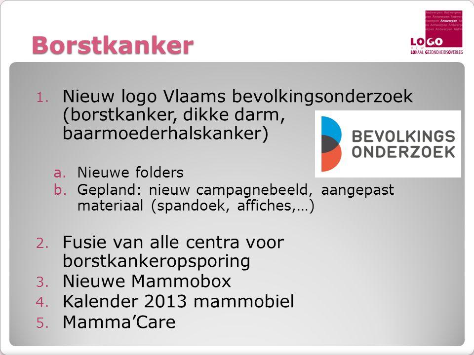 Borstkanker 1. Nieuw logo Vlaams bevolkingsonderzoek (borstkanker, dikke darm, baarmoederhalskanker) a.Nieuwe folders b.Gepland: nieuw campagnebeeld,