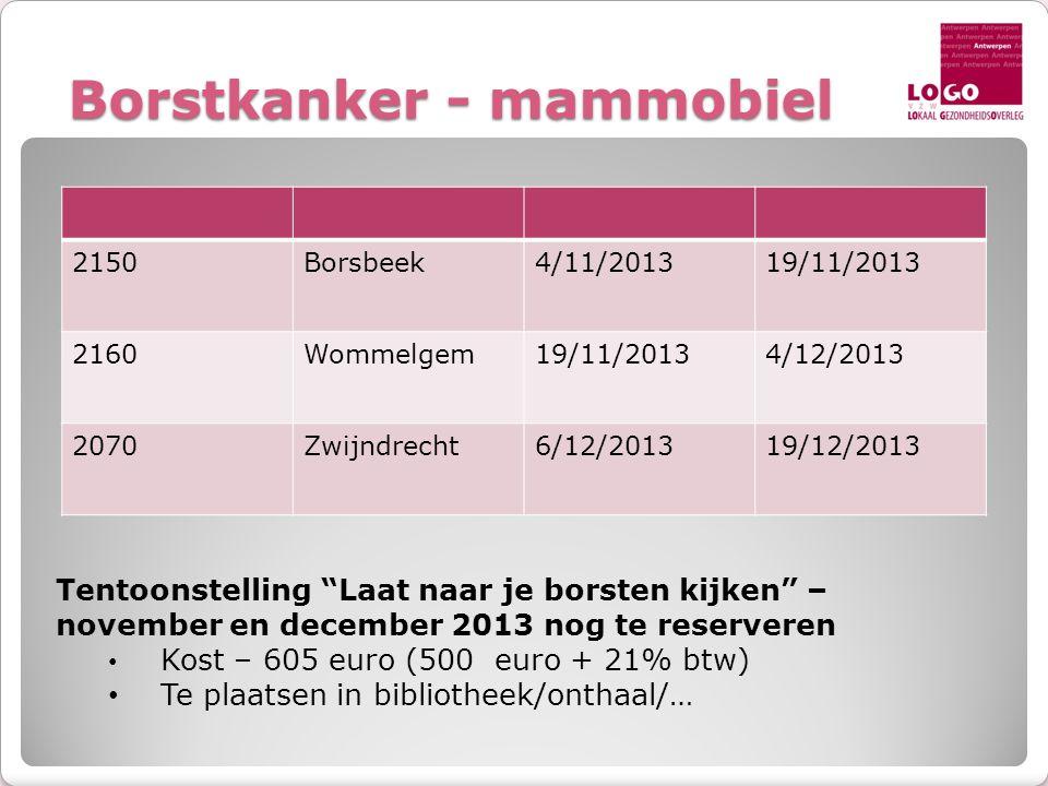"""Borstkanker - mammobiel 2150Borsbeek4/11/201319/11/2013 2160Wommelgem19/11/20134/12/2013 2070Zwijndrecht6/12/201319/12/2013 Tentoonstelling """"Laat naar"""