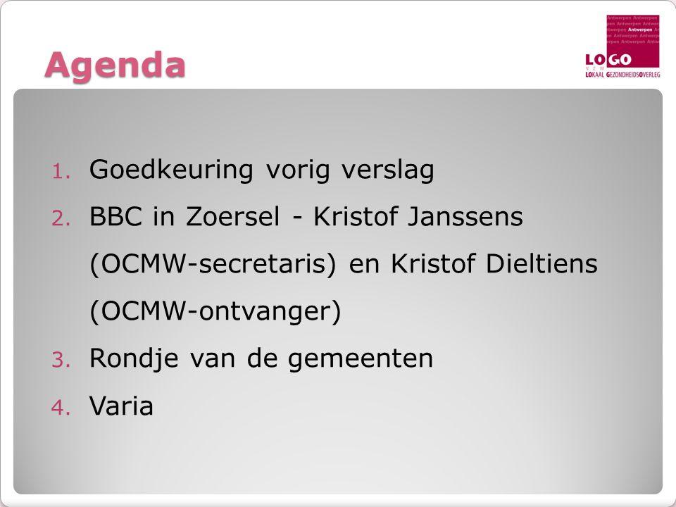 Agenda 1. Goedkeuring vorig verslag 2. BBC in Zoersel - Kristof Janssens (OCMW-secretaris) en Kristof Dieltiens (OCMW-ontvanger) 3. Rondje van de geme