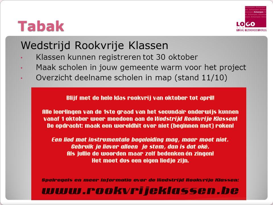 Tabak Wedstrijd Rookvrije Klassen • Klassen kunnen registreren tot 30 oktober • Maak scholen in jouw gemeente warm voor het project • Overzicht deelna
