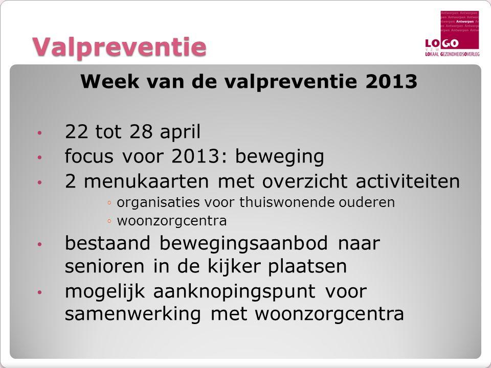Valpreventie Week van de valpreventie 2013 • 22 tot 28 april • focus voor 2013: beweging • 2 menukaarten met overzicht activiteiten ◦organisaties voor