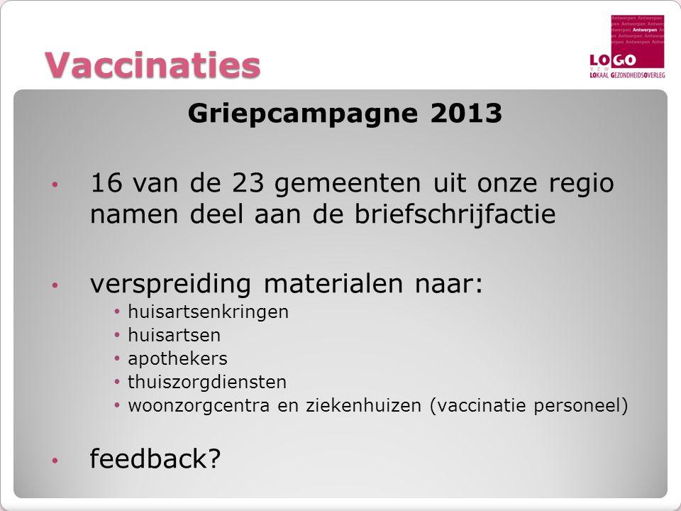 Vaccinaties Griepcampagne 2013 • 16 van de 23 gemeenten uit onze regio namen deel aan de briefschrijfactie • verspreiding materialen naar: • huisartse