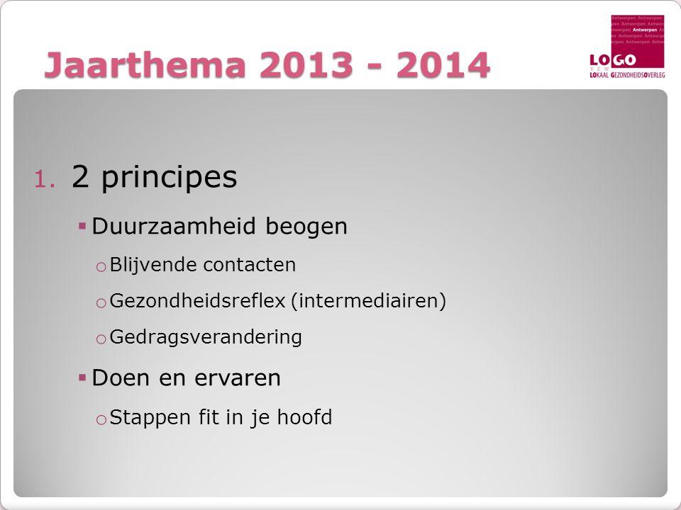Jaarthema 2013 - 2014 1. 2 principes  Duurzaamheid beogen o Blijvende contacten o Gezondheidsreflex (intermediairen) o Gedragsverandering  Doen en e