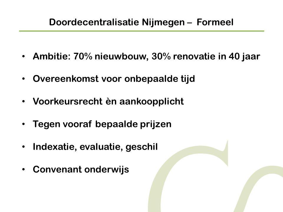 Doordecentralisatie Nijmegen – Formeel • Ambitie: 70% nieuwbouw, 30% renovatie in 40 jaar • Overeenkomst voor onbepaalde tijd • Voorkeursrecht èn aankoopplicht • Tegen vooraf bepaalde prijzen • Indexatie, evaluatie, geschil • Convenant onderwijs